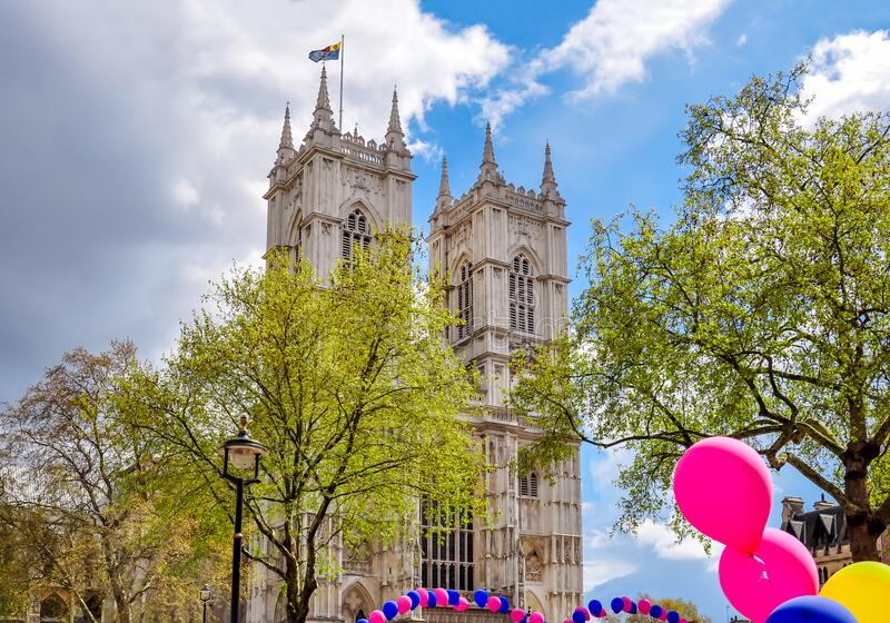 Westminster Abbey in center of London, UK royalty free stock photography