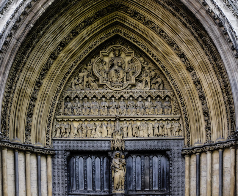 Westminster Abbey Entrance Door stock foto