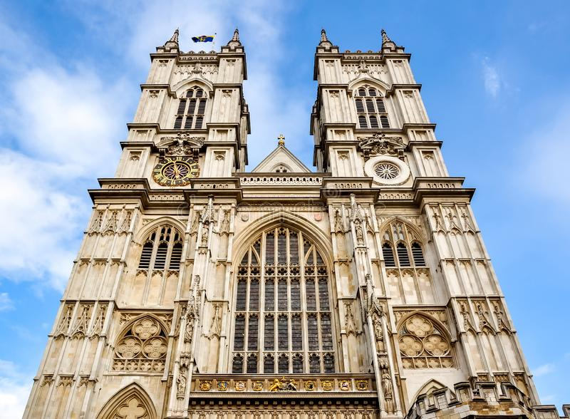 Westminster Abbey facade, London, UK royalty free stock photography