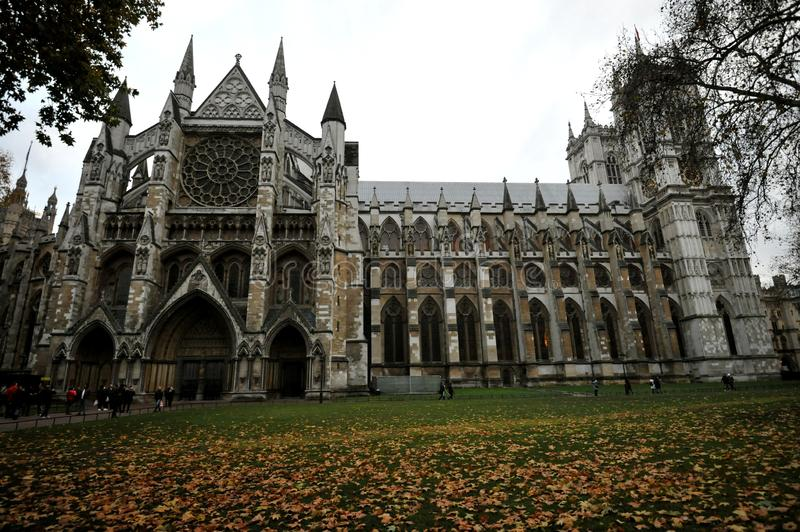 Westminster Abbey, a large, mainly Gothic abbey church in the City of Westminster, London, England royalty free stock photo