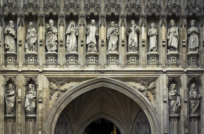 Westminster Abbey, London. Detail of Westminster Abbey's statues, London, UK royalty free stock images