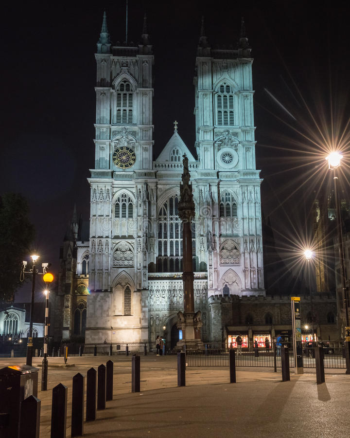 Westminster Abbey at night. LONDON - 04 OCT 2015: Westminster Abbey at night royalty free stock image