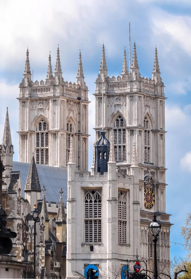 Westminster Abbey towers, London, UK stock image