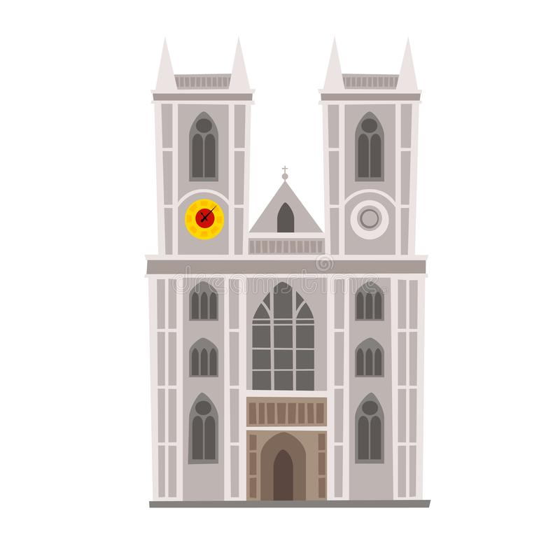 Westminster Abbey vector Illustration. England landmark, London city symbol vector illustration