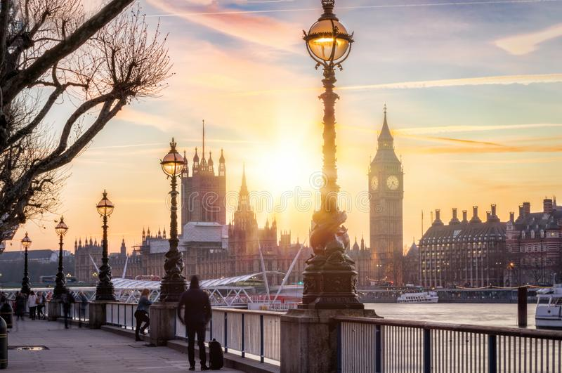 The Westminster and Big Ben in London at sunset. View to Westminster and Big Ben from the southbank in London during sunset stock photography