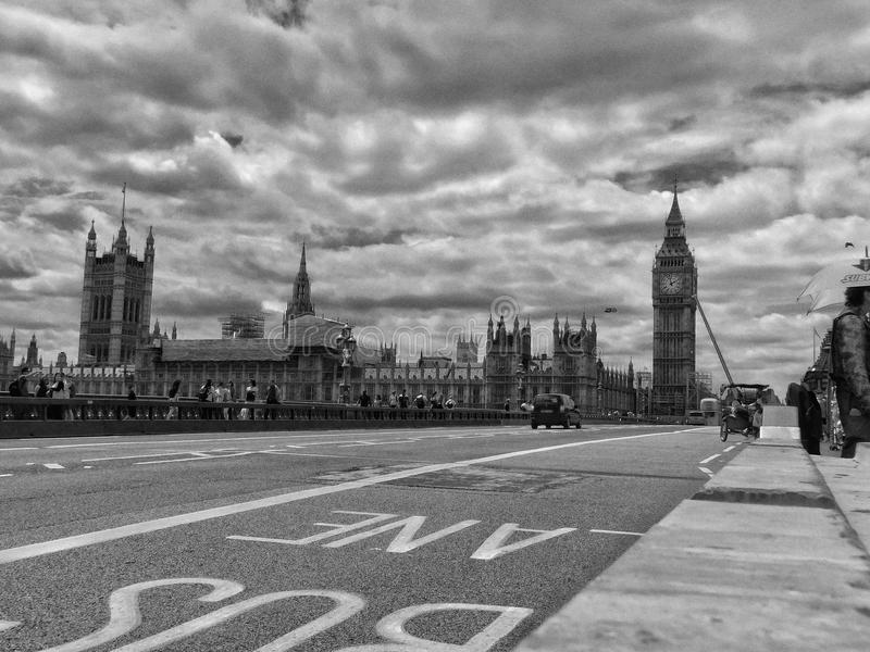 Westminster bridge and the castle royalty free stock photos