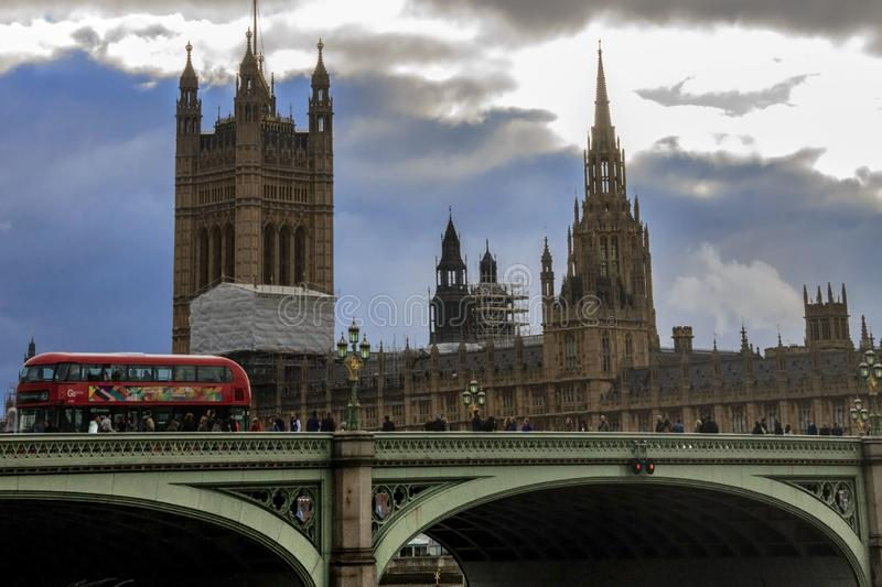 Westminster Bridge and Houses of Parliament. London, England, UK. royalty free stock image