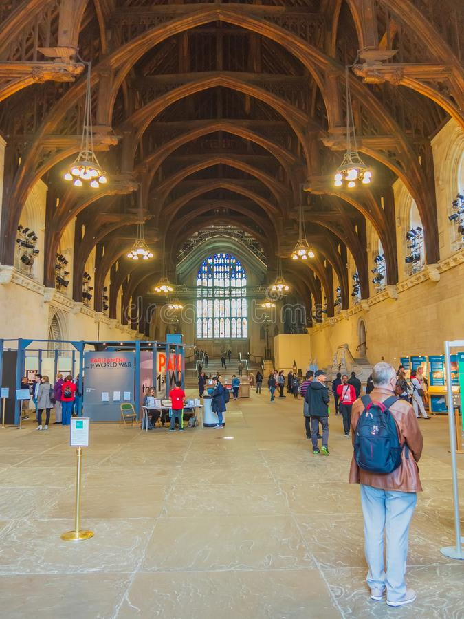 Westminster Hall is the oldest building of the Westminster Palace. Today it is used for public events and ceremonies. Westminster Hall is the oldest building of stock photos