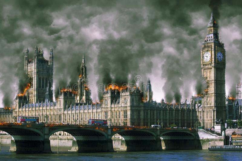 Westminster Houses of Parliament London Burning royalty-vrije stock afbeeldingen