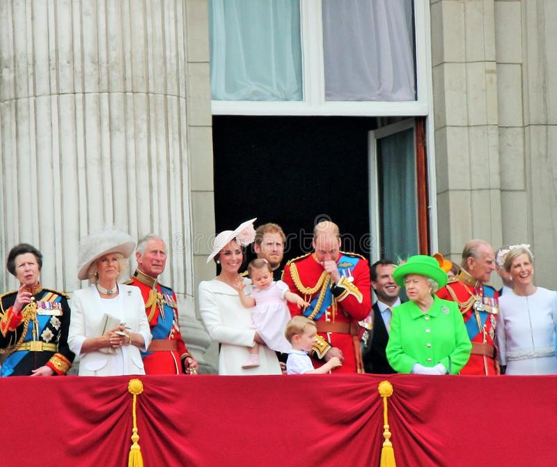 Queen Elizabeth & Prince Harry, George Charlotte William, harry, Kate & Charles. Trooping the colour 2016 London UK. Queen Elizabeth, London June 2016- Royal stock photography