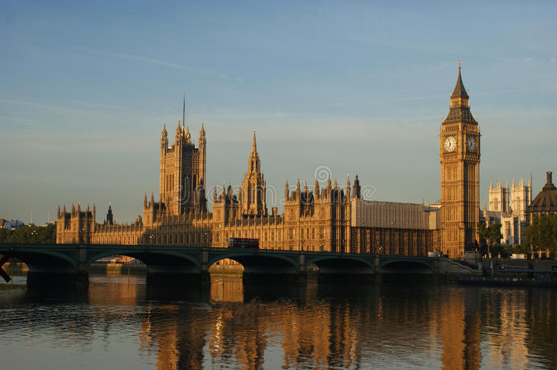Westminster Morning. On the Thames stock photos