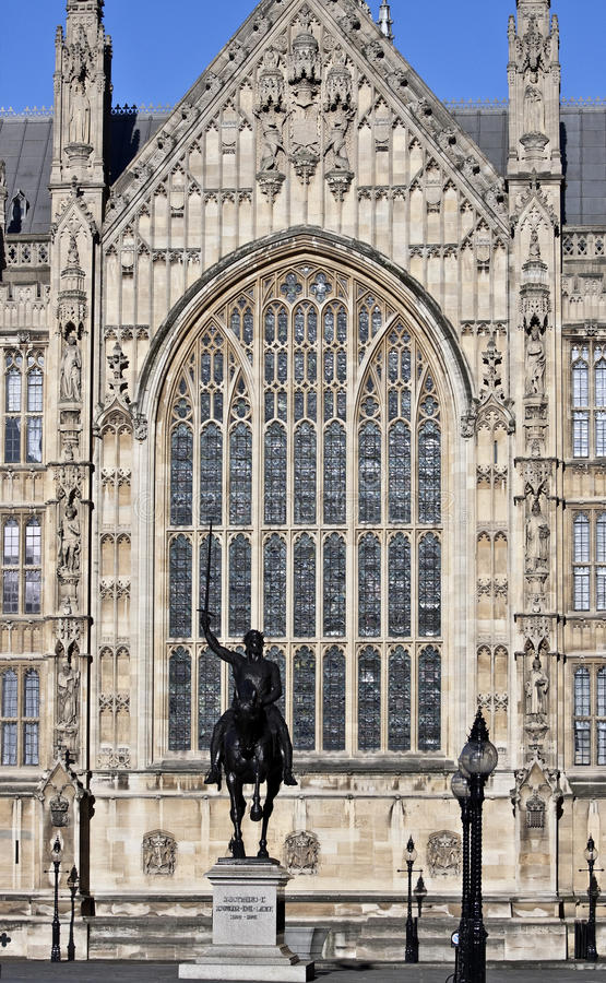 Westminster Palace. King Richard 1 monument near Westminster Palace royalty free stock photography