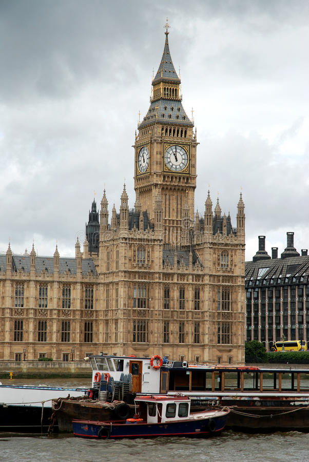 Westminster palace and Big Ben. Westminster palace from the Thames royalty free stock images