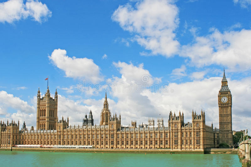 Westminster Palace and The Big Ben in London. Houses of Parliament Westminster Palace and The Big Ben Clock in London, UK royalty free stock image
