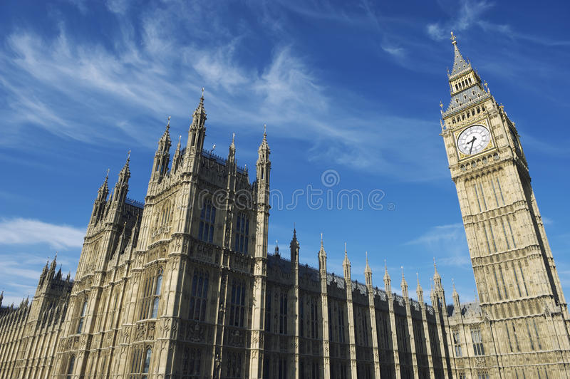 Download Westminster Palace And Big Ben London Blue Sky Hor Stock Image - Image: 26038523