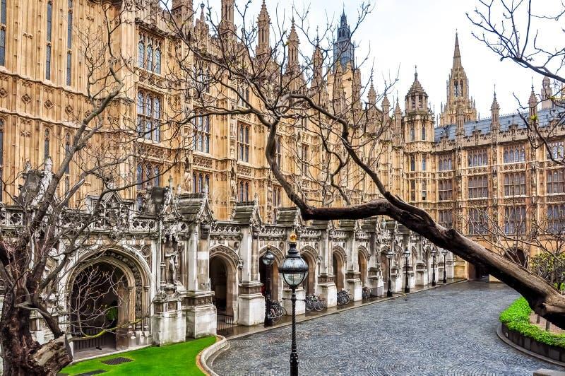 Westminster palace courtyard, London, UK stock photography