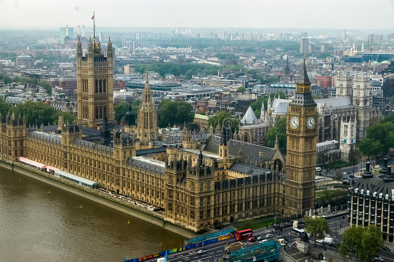 Westminster Palace in London. Aerial view at Westminster Palace in London, England. Palace of Westminster is the meeting place of the House of Commons and the royalty free stock image