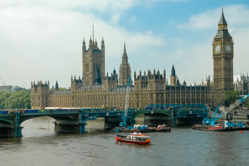 Westminster Palace in London. England. Palace of Westminster is the meeting place of the House of Commons and the House of Lords stock photo