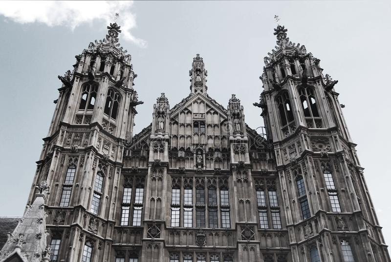Westminster Palace. London. Facade of the historical Westminster Palace in London, England. Almost clear sky stock images