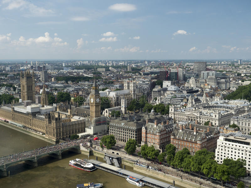 Westminster Palace and the Thames, seen from the London Eye royalty free stock photography