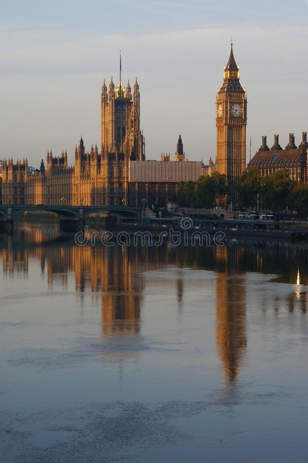 Westminster and the Thames. Westminster reflection in the Thames stock photography