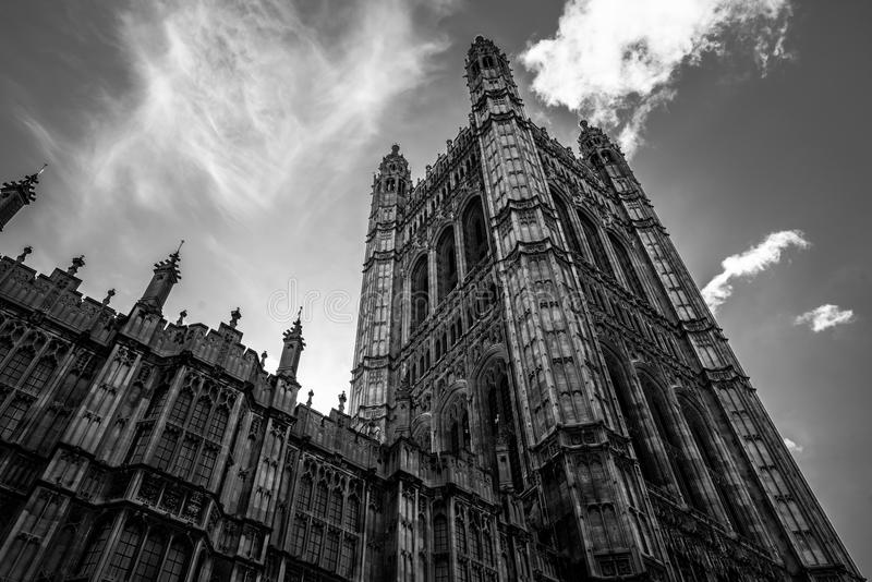 Westminster torn mono Brexit arkivbilder