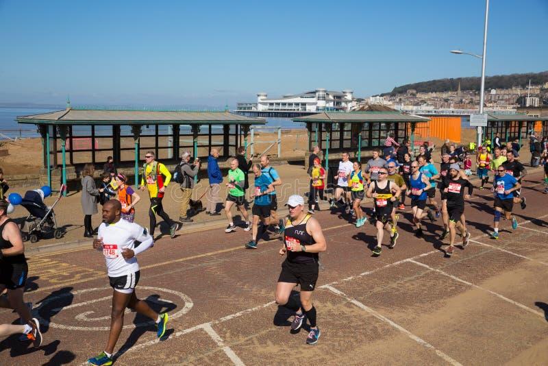 Weston-Halbmarathon Weston-Super-Stute Somerset am Sonntag, den 24. März 2019 lizenzfreie stockfotos