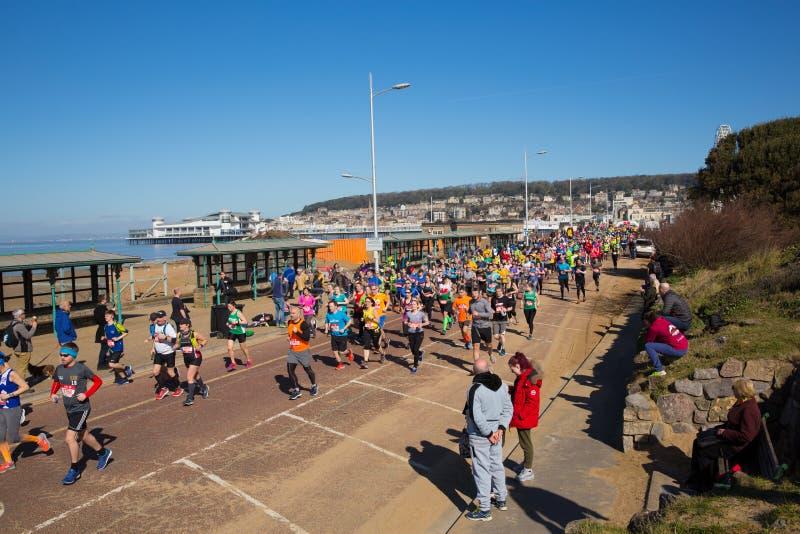 Weston Super-Halbmarathon Weston-Super-Stute Somerset am Sonntag, den 24. März 2019 stockfoto