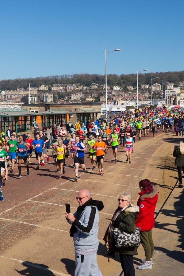 Weston Super-Halbmarathon Weston-Super-Stute Somerset am Sonntag, den 24. März 2019 stockfotografie