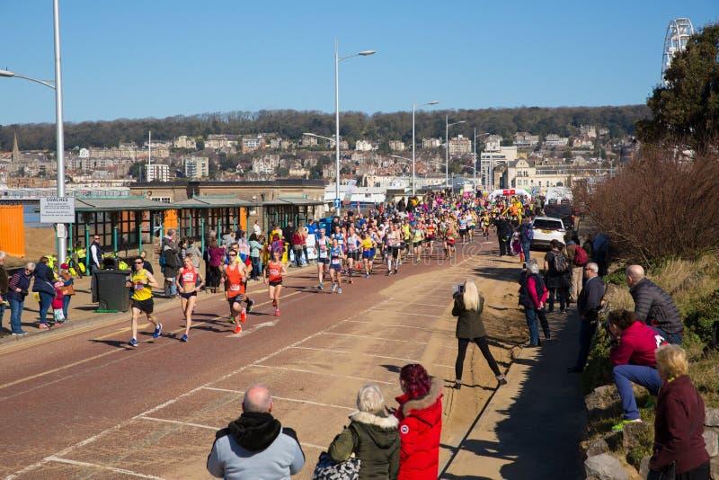 Weston Super-Halbmarathon Weston-Super-Stute Somerset am Sonntag, den 24. März 2019 lizenzfreie stockbilder