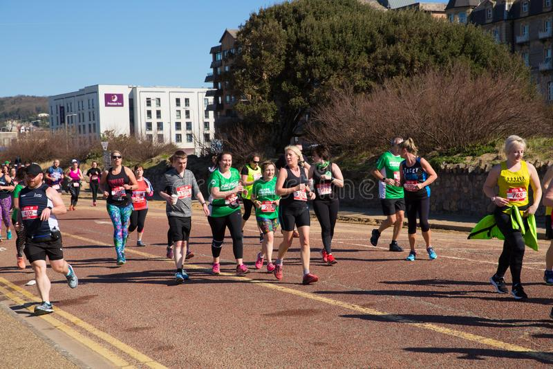 Weston Super halv maratonWeston-toppen-sto Somerset på den söndag 24th mars 2019 royaltyfria bilder