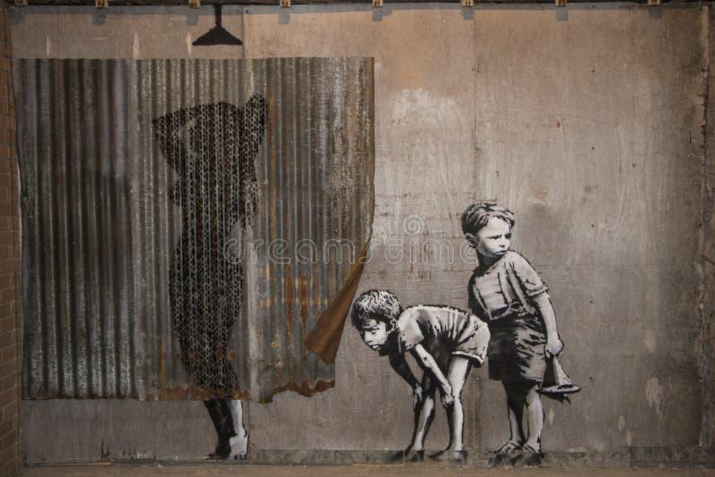 WESTON-SUPER-MARE,英国- 2015年9月21日:Dismaland, Banksy 免版税库存图片