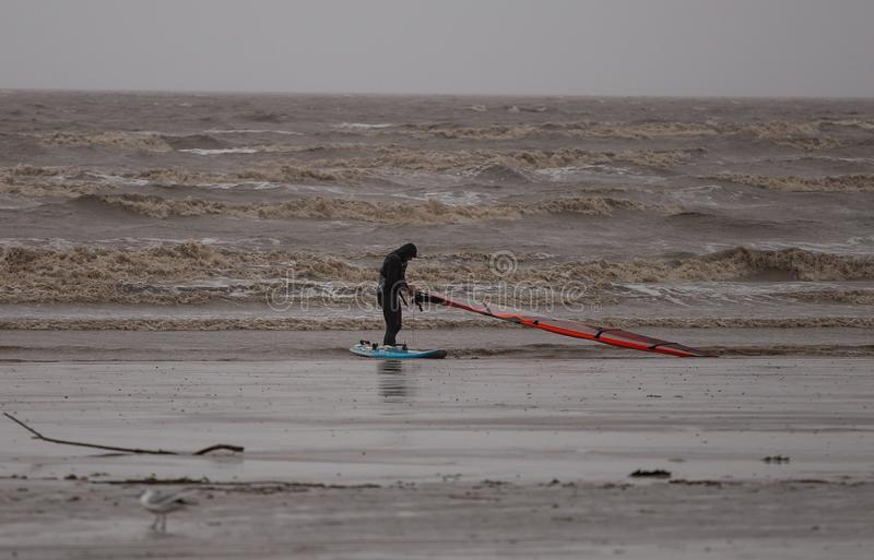 Weston Super Mare Kitesurfing royaltyfria foton