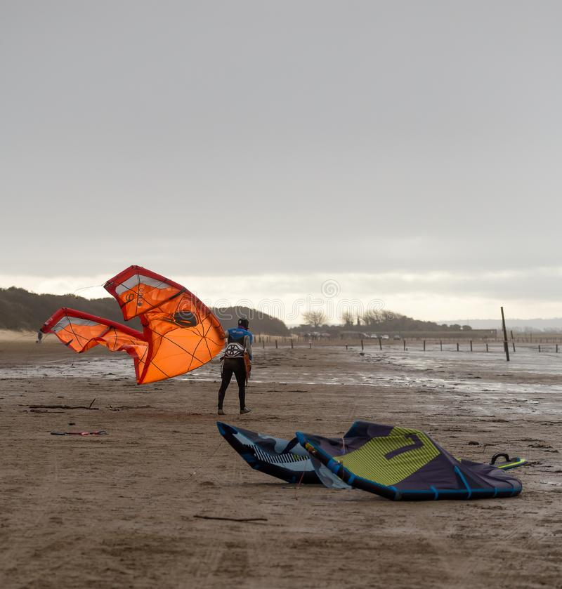 Weston Super Mare Kitesurfing imagenes de archivo