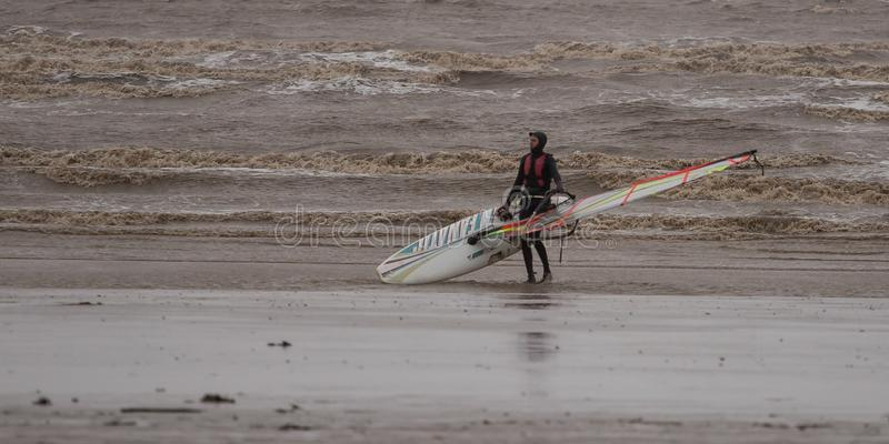 Weston Super Mare Kitesurfing. Kitesurfing in January 2019 in Weston Super Mare, United Kingdom. Waves on sea royalty free stock image