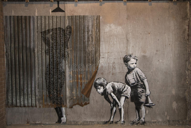 WESTON-SUPER-MARE, REINO UNIDO - 21 DE SEPTIEMBRE DE 2015: Dismaland, Banksy imágenes de archivo libres de regalías