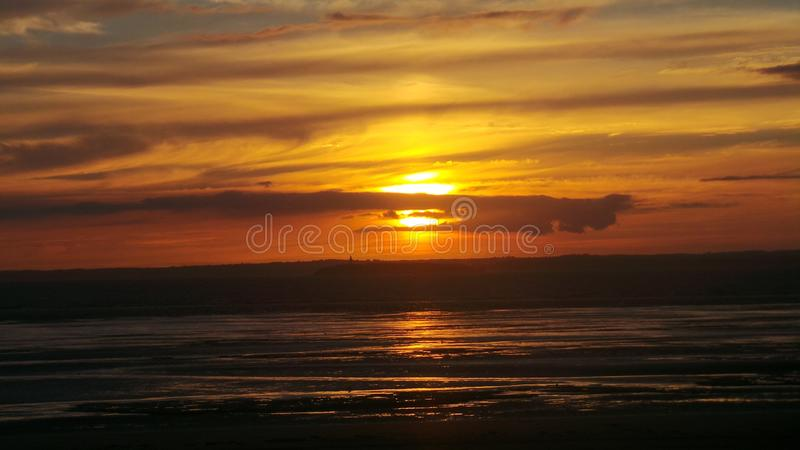 Weston super mare sunset stock images