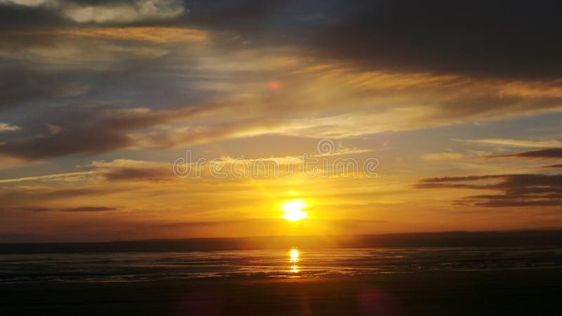 Weston super mare sunset stock photo