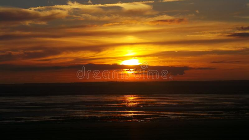 Weston super mare sunset royalty free stock images
