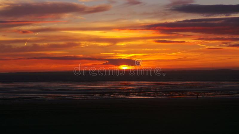Weston super mare sunset royalty free stock photography