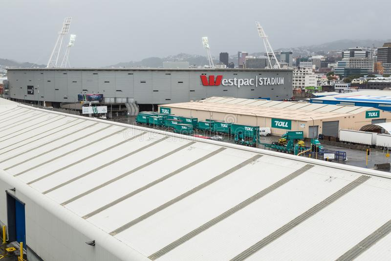 Westpac体育场,惠灵顿,新西兰,如被看见从船坞 库存图片