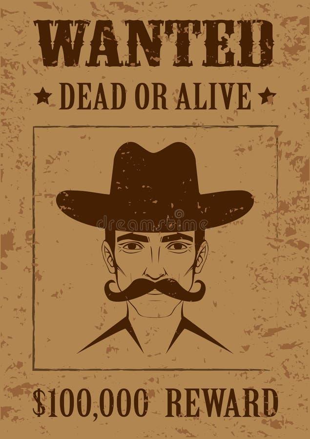 Westplakat, gewünschte Tote oder lebendig, lizenzfreie abbildung
