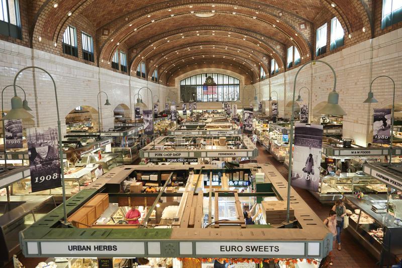Westside Market. Farmers and growers selling produce and crops at Cleveland's landmark Westside Market royalty free stock photos