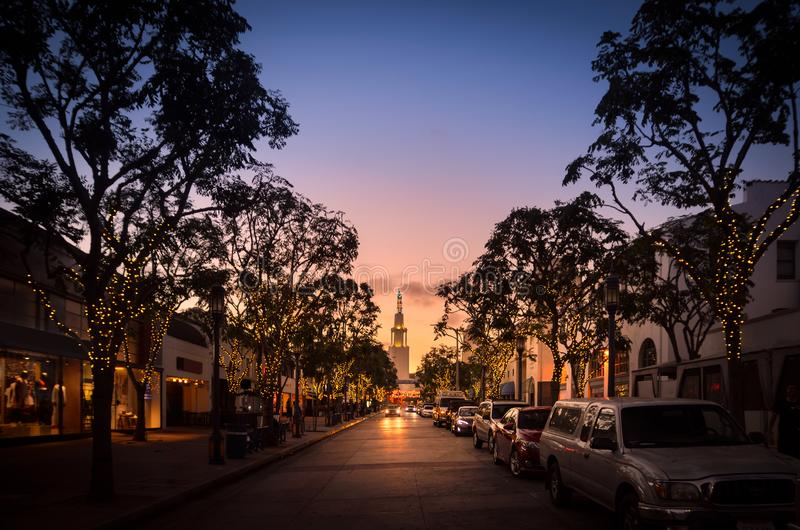 Sunset in Westwood Village, Los Angeles stock photography