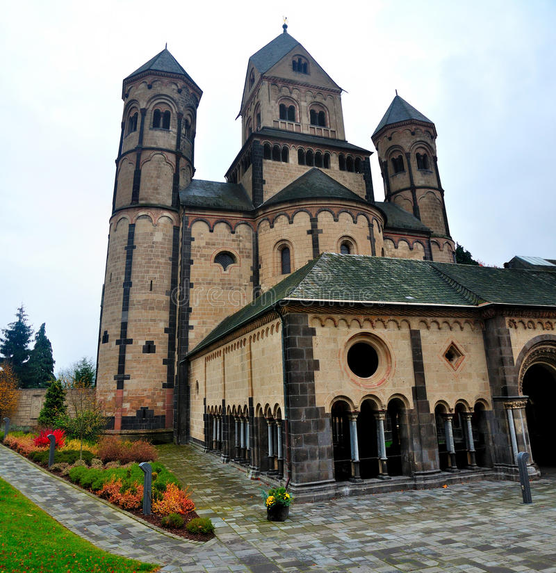 Westwork of Romanesque Abbey Maria Laach stock photos