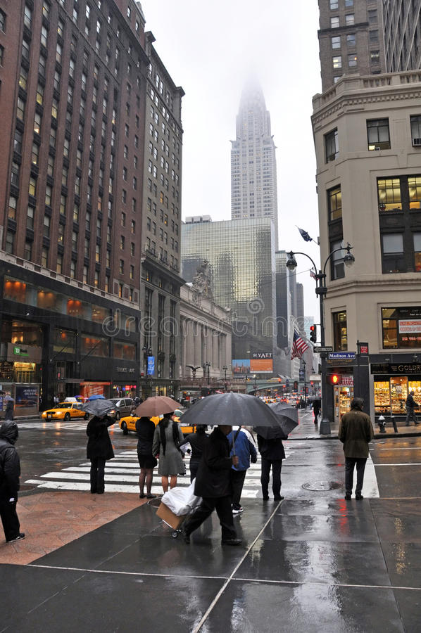 Wet Afternoon on the Corner of Madison & 42nd Street royalty free stock photos
