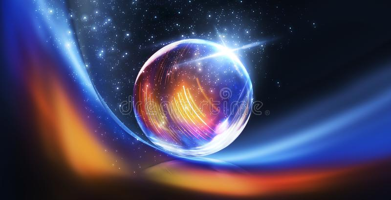 Glass ball, reflection of neon lights, rays, glare. Abstract neon background. The lights of the night city. Magic glass ball, spar stock illustration