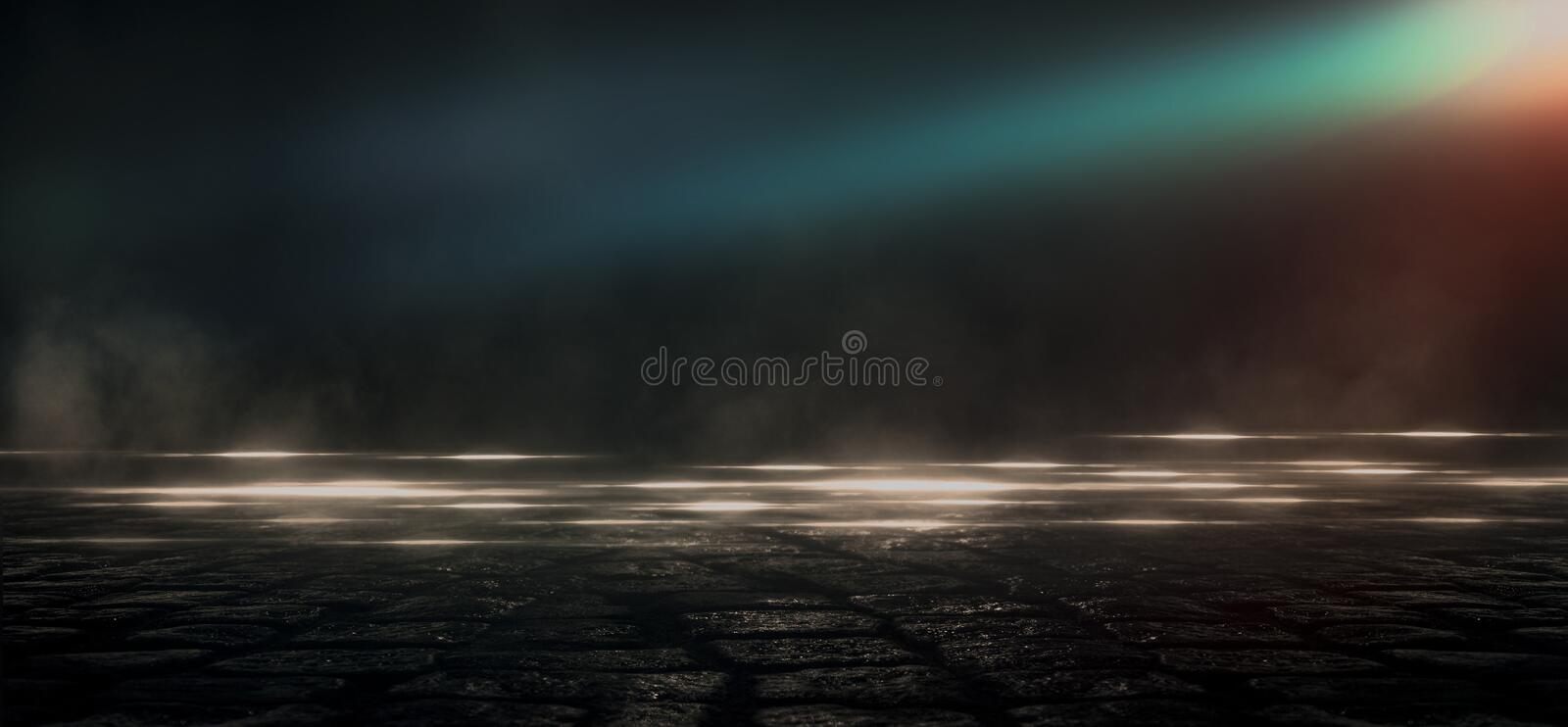 Wet asphalt, reflection of neon lights, a searchlight, smoke. Abstract light in a dark empty street with smoke, smog. Dark background scene of empty street stock illustration