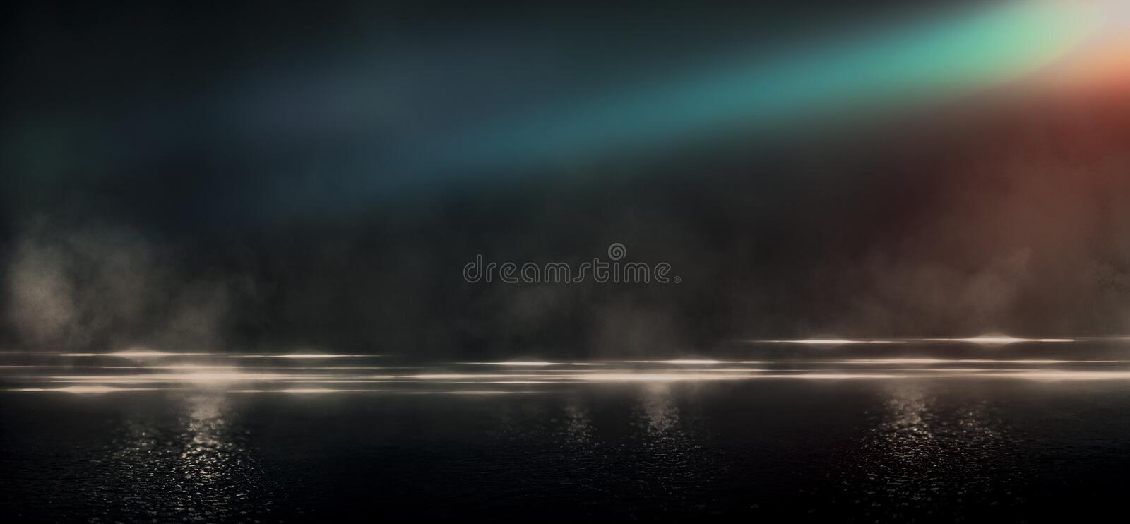 Wet asphalt, reflection of neon lights, a searchlight, smoke. Abstract light in a dark empty street with smoke, smog. Dark background scene of empty street vector illustration