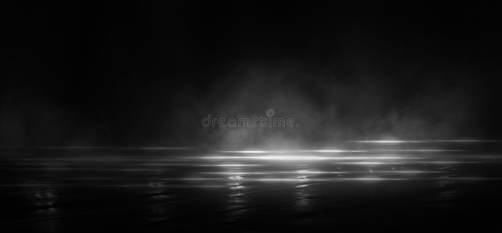 Wet asphalt, reflection of neon lights, a searchlight, smoke. Abstract light in a dark empty street with smoke, smog. Dark background scene of empty street royalty free illustration